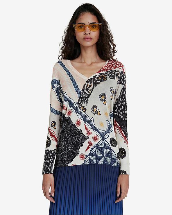 Desigual Pullover Weiß mehrfarben