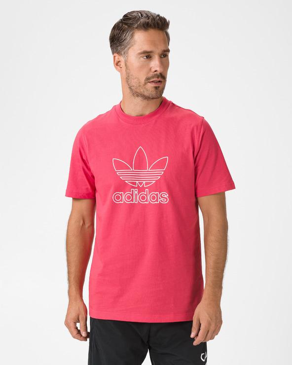 adidas Originals Trefoil Logo Outline T-Shirt Rot