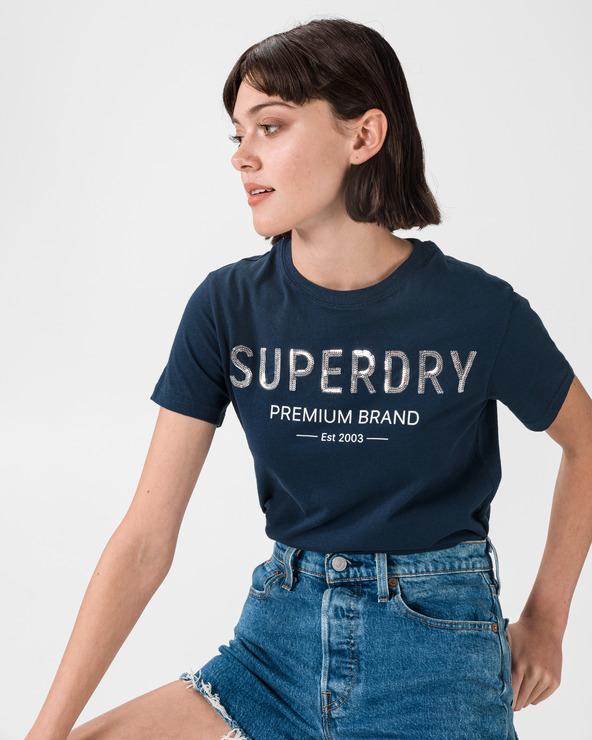 SuperDry Premium Sequin T-Shirt Blau
